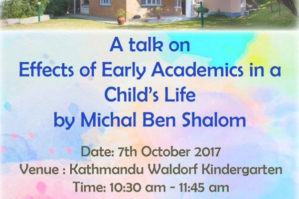 A talk on effects of early academics in a child's life by Michal Ben shalom